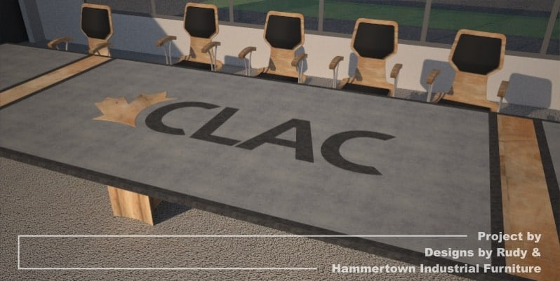 Steel, wood, and concrete conference room table designed by Designs by Rudy and handcrafted by Hammertown Industrial Furniture - finished table with chairs, CLAC logo angle view