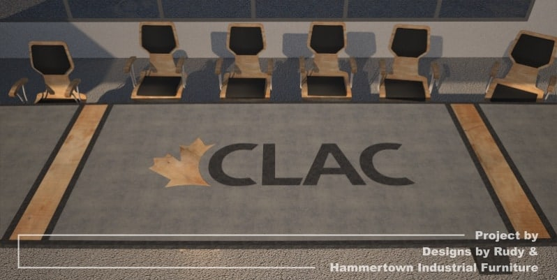 Steel, wood, and concrete conference room table designed by Designs by Rudy and handcrafted by Hammertown Industrial Furniture - finished table with chairs, CLAC logo view
