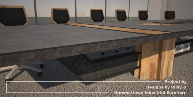 Steel, wood, and concrete conference room table designed by Designs by Rudy and handcrafted by Hammertown Industrial Furniture - finished table with chairs, frame edge view