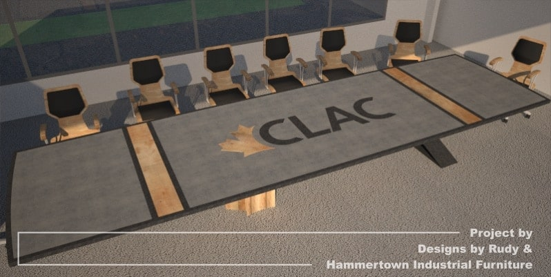 Steel, wood, and concrete conference room table designed by Designs by Rudy and handcrafted by Hammertown Industrial Furniture - finished table with chairs, full angle view