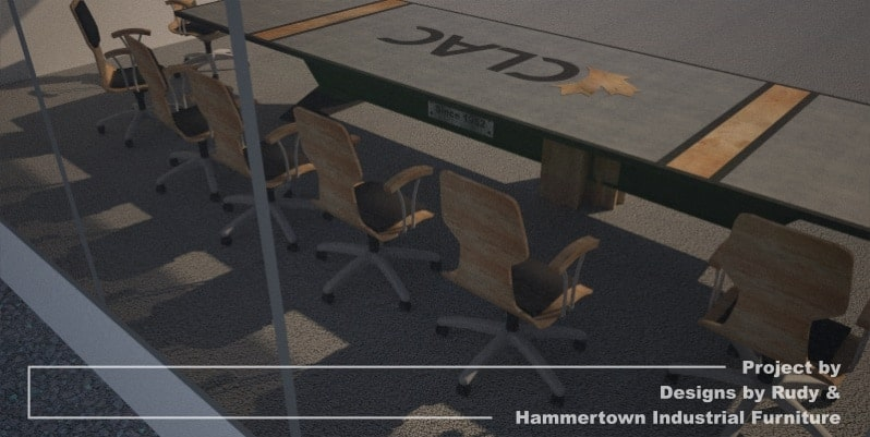 Steel, wood, and concrete conference room table designed by Designs by Rudy and handcrafted by Hammertown Industrial Furniture - finished table with chairs, window view
