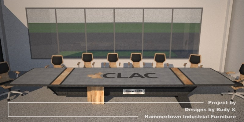 Steel, wood, and concrete conference room table designed by Designs by Rudy and handcrafted by Hammertown Industrial Furniture - full finished table front view