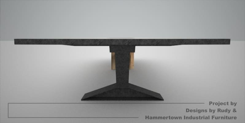 Steel, wood, and concrete conference room table designed by Designs by Rudy and handcrafted by Hammertown Industrial Furniture steel leg view