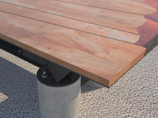 Conference Room Table, Wooden Top, Steel Frame, Concrete Legs