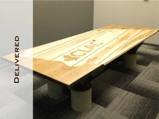 Conference Room Table, Wooden Top, Steel Frame, Concrete Legs by Designs by Rudy