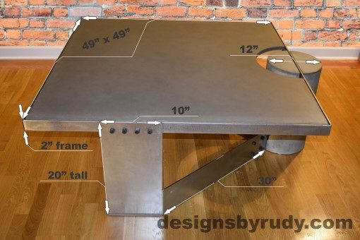Gray Concrete Coffee Table, Polished Steel Frame, dimensions, Designs by Rudy