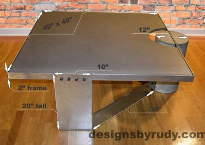 Gray Concrete Coffee Table, Polished Steel Frame, dimensions