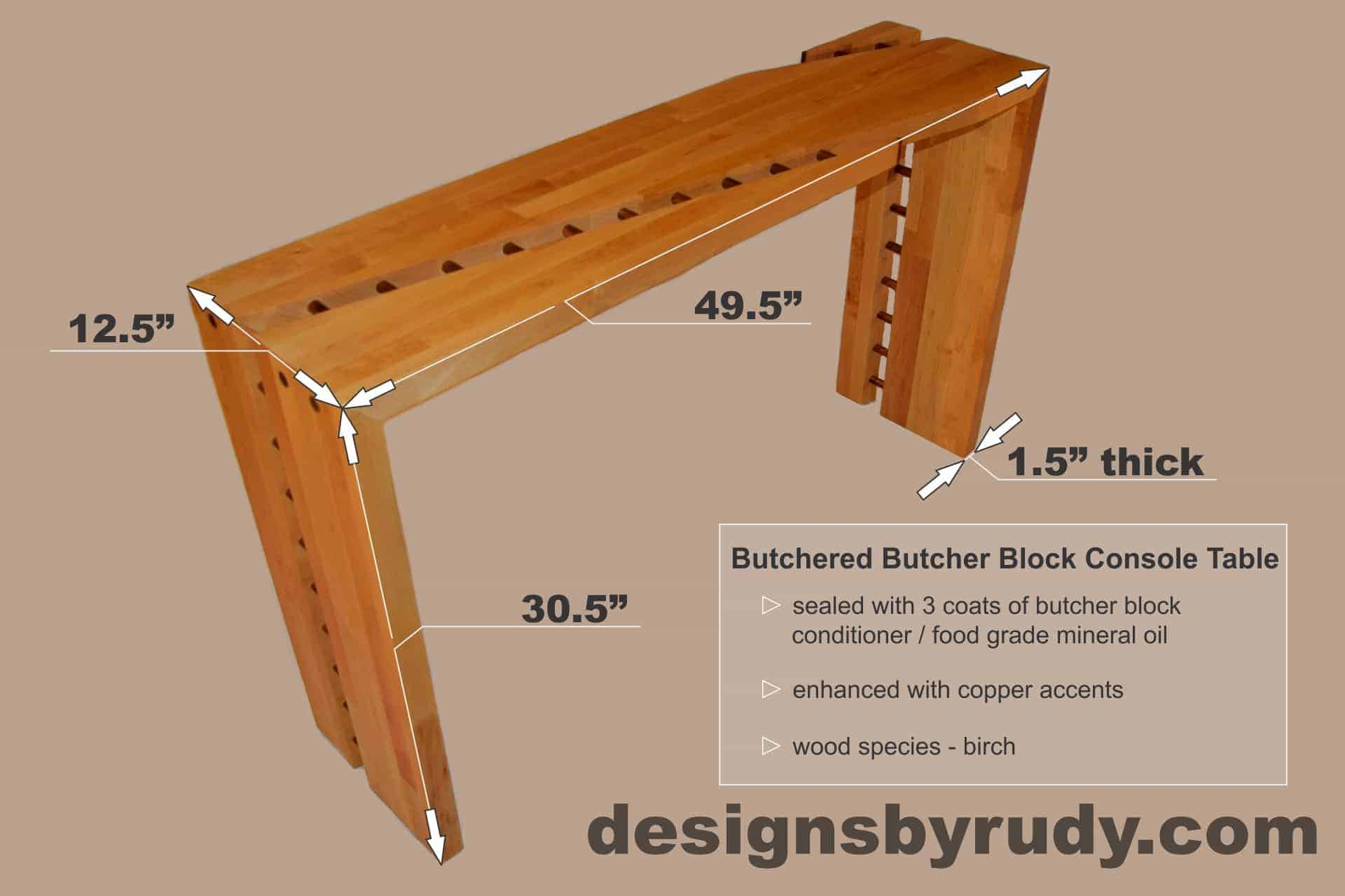 Butcher Block Console Table Dimensions