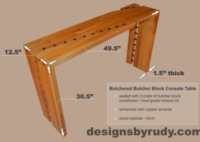 Butchered butcher block console table dimensions Designs by Rudy