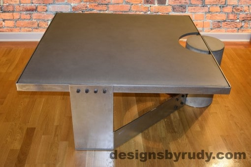 Gray Concrete Coffee Table, Polished Steel Frame, side view, Designs by Rudy