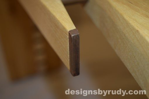 Butchered butcher block console table - copper detail 3 - interior no flash Designs by Rudy