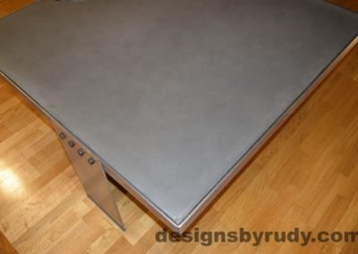Gray Concrete Coffee Table, Polished Steel Frame, other side corner top view with flash, Designs by Rudy
