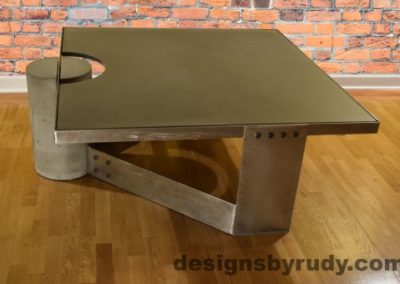 Gray Concrete Coffee Table, Polished Steel Frame, other side view, no flash, Designs by Rudy