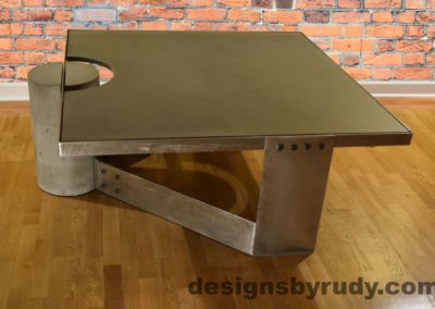 Gray Concrete Coffee Table, Polished Steel Frame, other side view, no flash