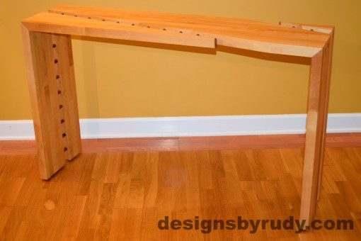 Butcher block console table side view 2 interior with flash Designs by Rudy