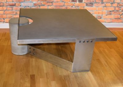 Gray Concrete Coffee Table, Polished Steel Frame, other side view, with flash, Designs by Rudy