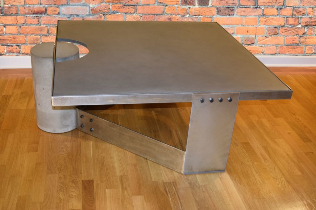 Gray Concrete Coffee Table, Polished Steel Frame, other side view, with flash