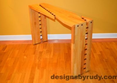 Butcher block console table side view 3 interior with flash Designs by Rudy