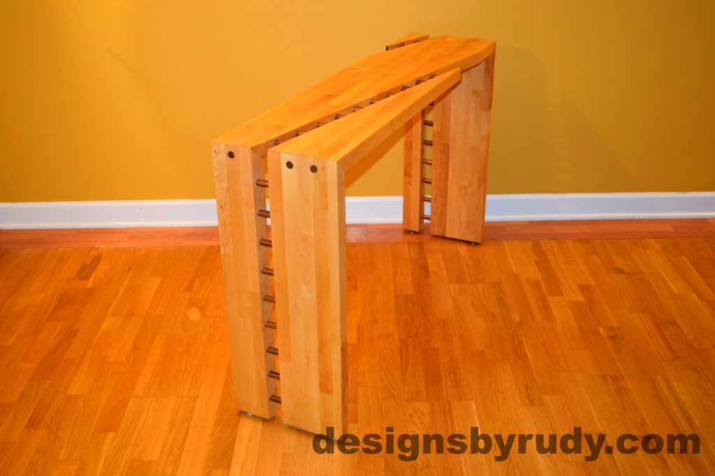 Butcher block console table side view 4 interior with flash Designs by Rudy