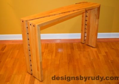 Butcher block console table side view 5 interior with flash Designs by Rudy