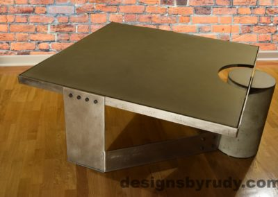Gray Concrete Coffee Table, Polished Steel Frame, rear-supporting leg other side view 2, no flash,