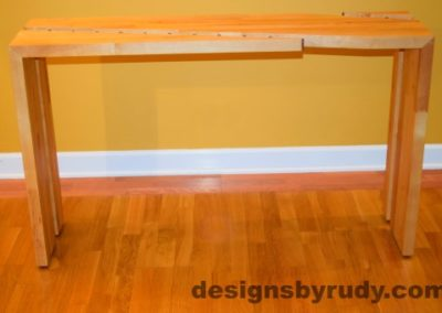 Butcher block console table side view interior with flash Designs by Rudy