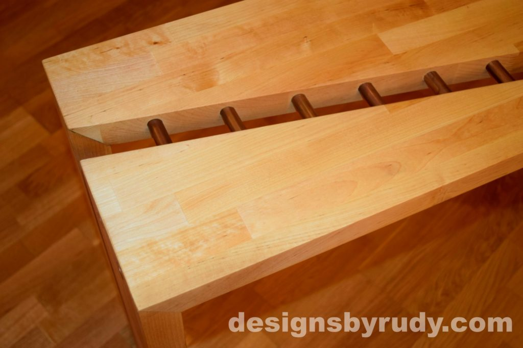 Butchered butcher block console table - skewed second corner view from top with flash Designs by Rudy