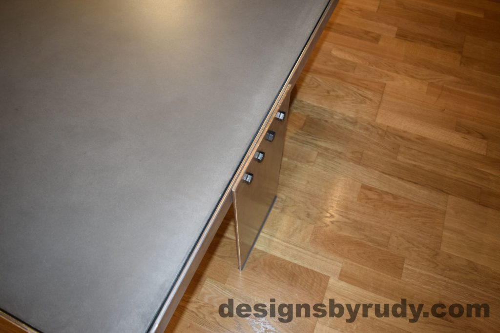Gray Concrete Coffee Table, Polished Steel Frame, steel leg and frame joint 2