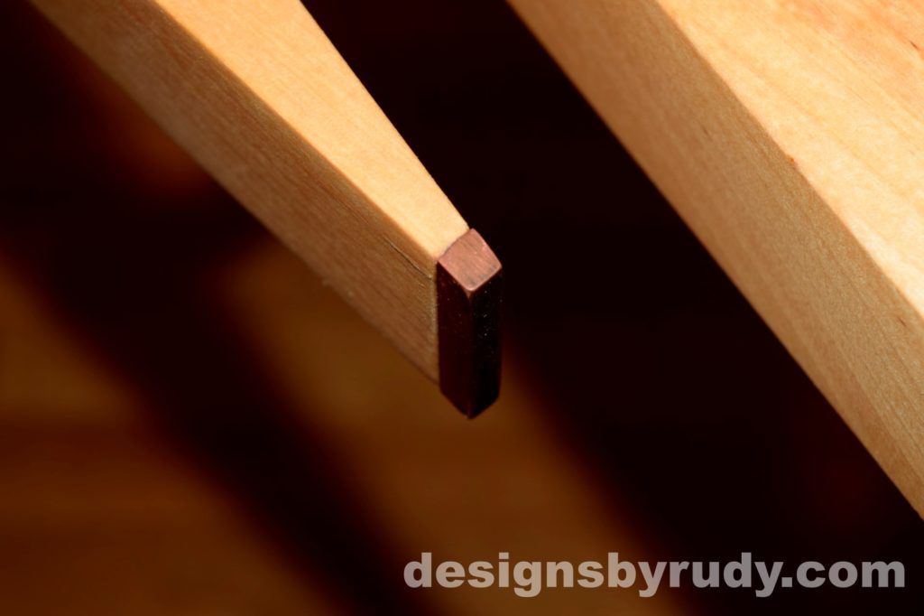Butchered butcher block console table - copper detail 4 - interior with flash Designs by Rudy