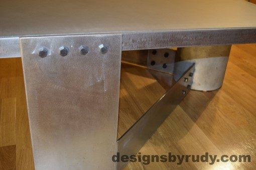 Gray Concrete Coffee Table, Polished Steel Frame, steel leg with frame and concrete leg joints, Designs by Rudy