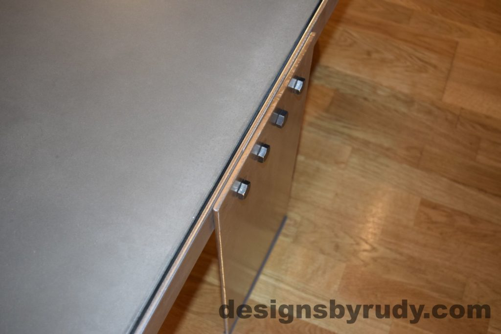 Gray Concrete Coffee Table, Polished Steel Frame, steel leg and frame joint