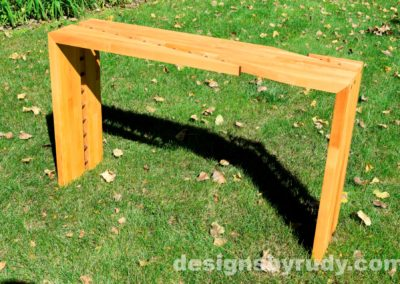 Butchered butcher block console table side view - exterior full sun Designs by Rudy for sale
