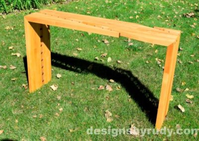 Butchered butcher block console table side view - exterior full sun Designs by Rudy