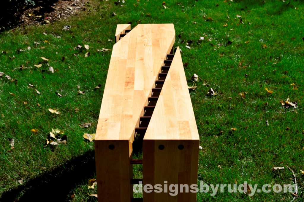 Butchered butcher block console table long view - exterior full sun Designs by Rudy for sale