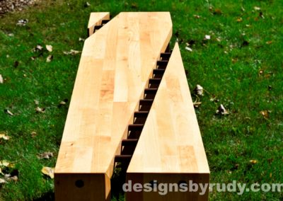 Butchered butcher block console table long view closeup - exterior full sun Designs by Rudy for sale