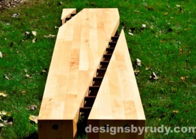 Butchered butcher block console table long view closeup - exterior full sun Designs by Rudy
