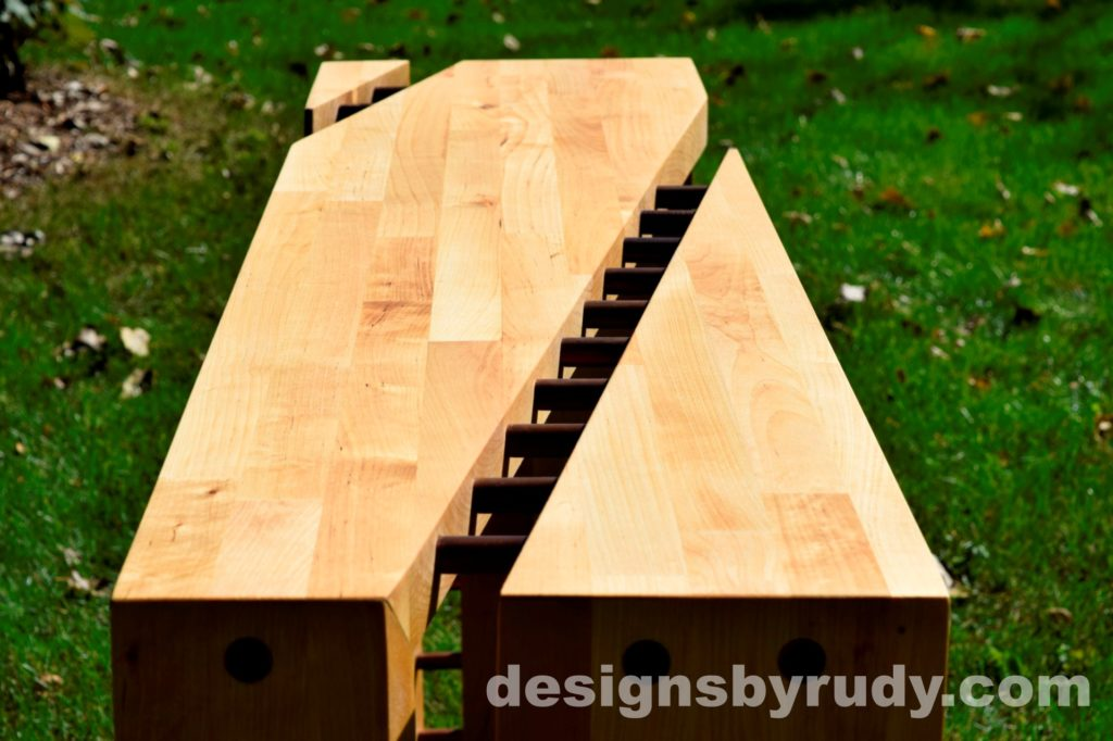 Butchered butcher block console table long view closeup 2 - exterior full sun Designs by Rudy for sale