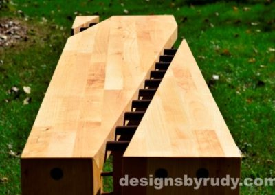 Butchered butcher block console table long view closeup 2 - exterior full sun Designs by Rudy