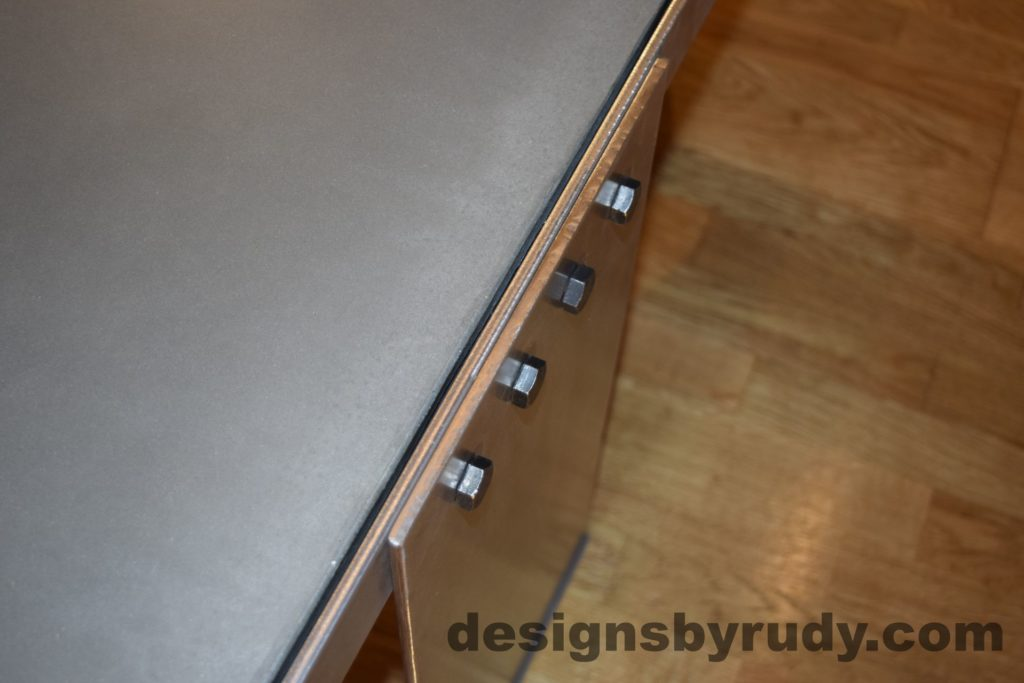 Gray Concrete Coffee Table, Polished Steel Frame, steel leg and frame joint 3
