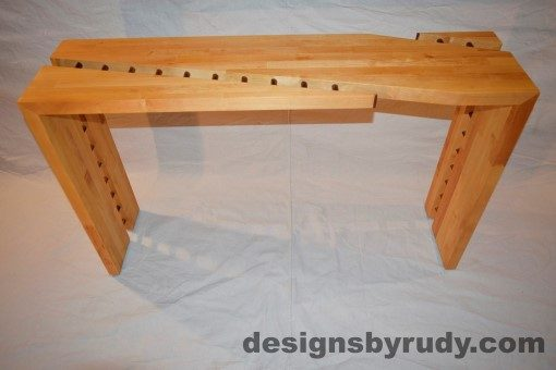 Butcher block console table front view interior with flash Designs by Rudy