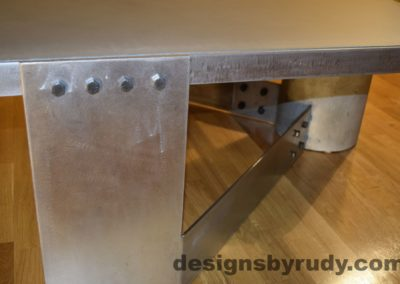 Gray Concrete Coffee Table, Polished Steel Frame, steel leg with frame and concrete leg joints