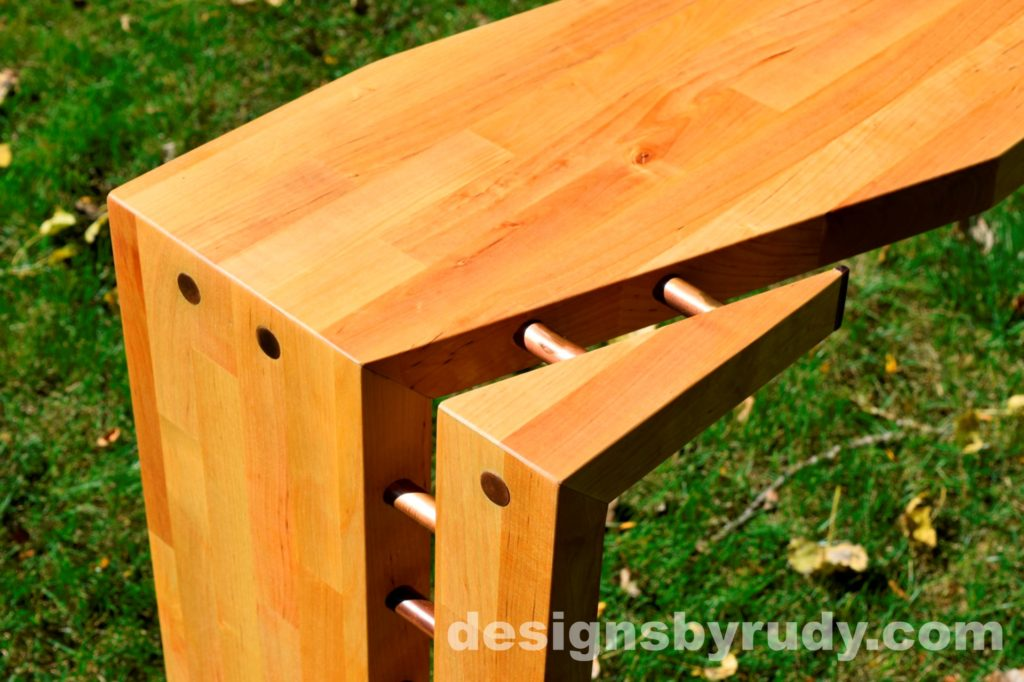 Butchered butcher block console table corner view closeup 2 - exterior full sun Designs by Rudy for sale