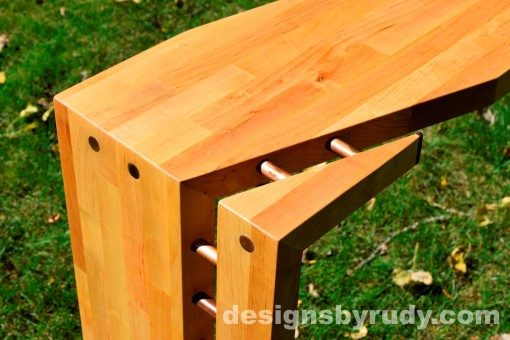 Butchered butcher block console table corner view closeup 2 - exterior full sun Designs by Rudy
