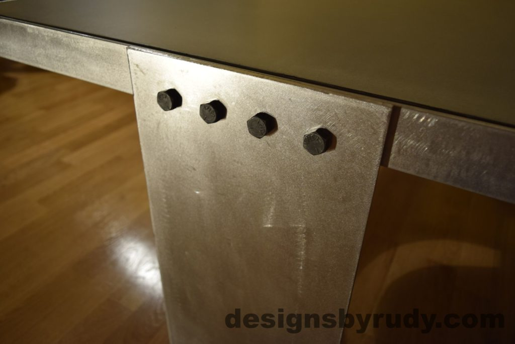 Gray Concrete Coffee Table, Polished Steel Frame, steel leg and frame joint 4