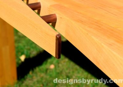 Butchered butcher block console table copper detail closeup - exterior full sun Designs by Rudy