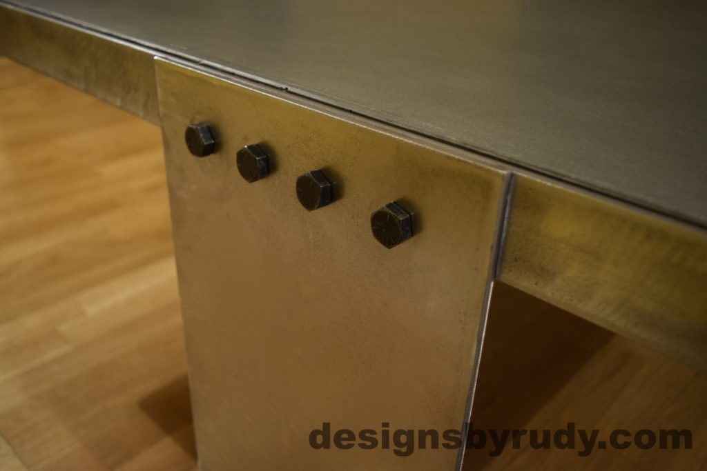 Gray Concrete Coffee Table, Polished Steel Frame, steel leg and frame joint 5