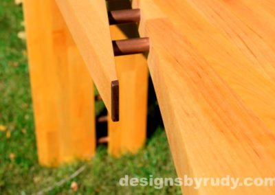 Butchered Butcher Block Console Table copper detail closeup 2 - exterior full sun Designs by Rudy