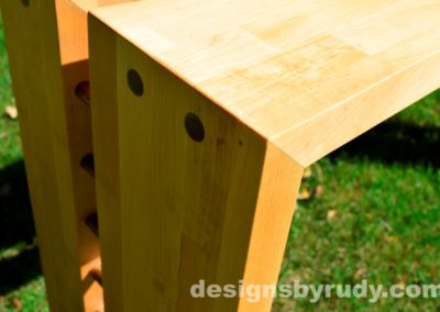 Butchered butcher block console table corner view closeup 3 - exterior full sun Designs by Rudy for sale