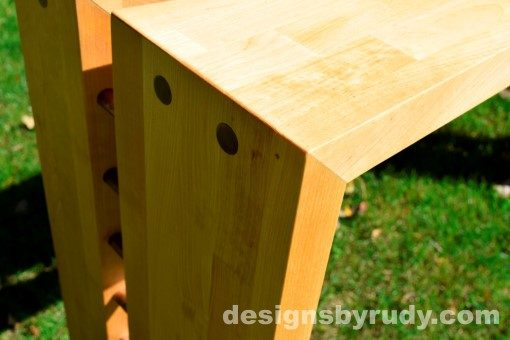 Butchered Butcher Block Console Table corner view closeup 3 - exterior full sun Designs by Rudy