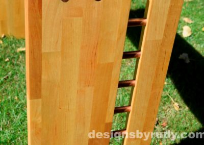 Butchered butcher block console table leg view closeup - exterior full sun Designs by Rudy for sale